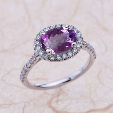 East West Engagement Ring 9x7mm Oval Amethyst in 14k White Gold