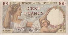FRANCE BANKNOTE P94-6254 100 FRANCS 20.11.1941, USUAL TEARS, FINE