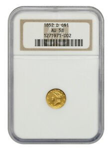 1852-D G$1 NGC AU58 - Desirable Branch Mint Issue - 1 Gold Coin