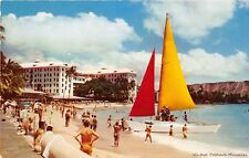 HONOLULU TERRITORY HAWAII 1954 Catamaran @ Wakiki VINTAGE PRE-STAEHOOD GEM+++