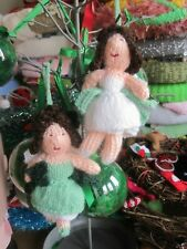 TWO HAND KNITTED FUNKY XMAS FAIRY TREE  DECORATIONS. 5 INCHES TALL.