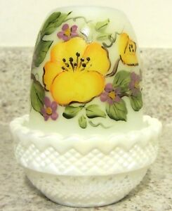 Mosser Glass White Carnival and Opal Handpainted Colorful Floral Fairy Light