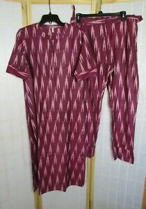 NWOT AKS Clothing India Pakistani Women's Maroon/Pink Printed Kurta/Palazzos XL