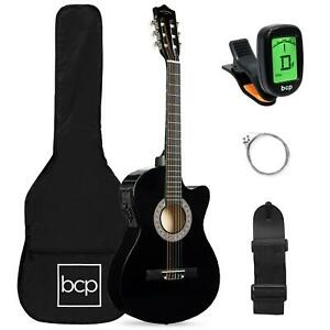38 Inch Beginner Acoustic Electric Cutaway Guitar Set With Case And Strap Multi