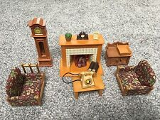 sylvanian families living room set with fireplace clock and extras - Sylvanian Families Living Room Set