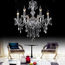 6 Lights Amber Clear Crystal Glass Pendant Lamp Chandelier Light Lamp