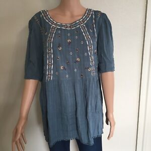 Knox Rose Womens Blue Short Sleeve  Blouse Designer Top Size XL Embroidered New