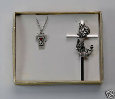 VINTAGE OLD FIRST COMMUNION GIFT SET  CROSS NECKLACE JEWELRY
