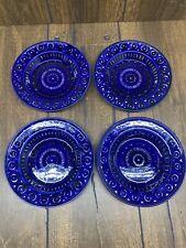 "4 Arabia Finland Valencia 9"" Large Rim Soup Bowl Plate Cobalt Blue Ulla Procope"