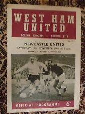 1966/67 Football Programme - West Ham v Newcastle United - 19th November
