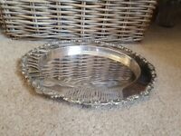 """Vintage Joseph Rodgers & Sons Sheffield Silver Plate 13"""" Oval Plate Tray Platter"""
