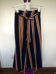 Spicysugar Blue Brown Striped Palazzo Wide Leg Pants Size 12