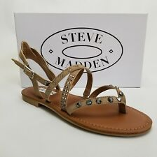 NEW $69 Steve Madden 8 Natalia Taupe Beige Tan Studded Ankle Strap Sandals