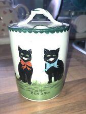"""Bon soir� Black Cat Vintage Porcelain Preserve Jar C.1900 Zell"