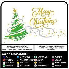 Vetrofania Merry Christmas - Adesivo Albero di natale per porta portone negozio