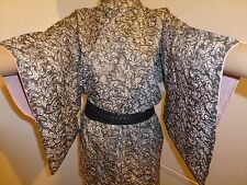 VINTAGE AUTHENTIC SILK Kimono giapponese per le donne, Nero e Bianco (K707)