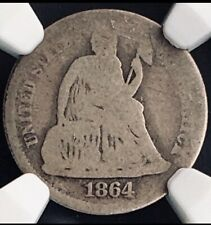 1864 Philly Business Strike Seated Dime. Civil War KEY DATE. NGC AG3 CAC. RARE!