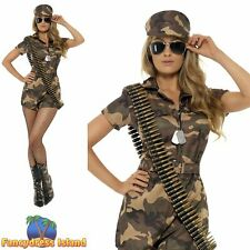 Army Girl Sexy Camouflage Print Jumpsuit Womens Ladies Fancy Dress Costume