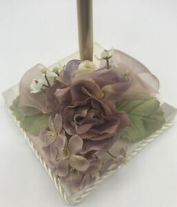 Beverly Clark Collection Penholder English Garden with Mauve Ribbon Gold Pen