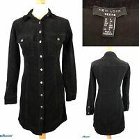 New Look Petite Women's Black Corduroy Button Up Dress Size UK 6 EU 34