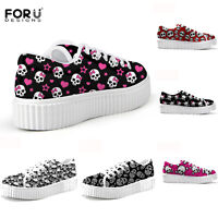 Womens Cute Skull Flat Platform Trainers School Ladies Creepers Shoes Size 2-8