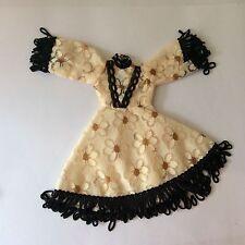 Attractive Faerie Glen Beige Black + Gold Dress vintage doll clothes fits Sindy
