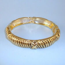Bali Style NEW Vintage Look Gold Rope Cable X Hinged Bracelet Designer Look USA
