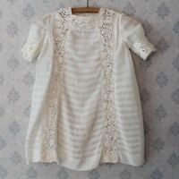 Vintage 1920s Young Girl's Ivory Sheer Cotton Pintucked Irish Lace Inset Dress