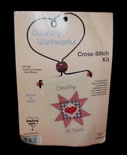 Country Wireworks COUNTRY AT HEART Counted Cross Stitch Kit Metal Heart Hanger