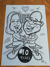Anniversary Gift. Personalised Caricature from photos. 2 person b/w.