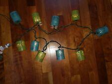 Teal Green Blue String Light Set Strand 10 Metal Cylinder Can Die Cut Out Flower