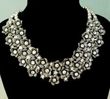 Splendido Grosso Chiaro Cristalli & Fiore Distanziatore collana Cluster