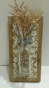 Bottle Wall Vase, Metal Clip on stenciled Wood Plant/Flower Holder farmhouse
