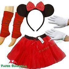 Minnie Mouse Ladies Fancy Dress Tutu Ears Gloves Legwarmers Set Outfit (Full 4