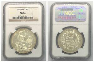 NGC Peru 1934 Un Sol Silver Coin Nice Lustre MS62