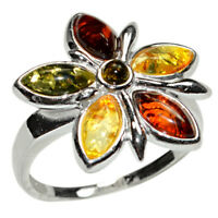 5.5g Authentic Baltic Amber 925 Sterling Silver Ring Jewelry N-A7226