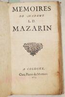 HORTHENSE MANCINI MEMOIRES DE MADAME MAZARIN 1675 CORTE DI VERSAILLES