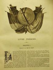 """1865:Da """"Histoire de la Révolution Française""""Xilo. Frontespizio.Livre Primier.."""