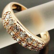 RING REAL 18K ROSE G/F GOLD DIAMOND SIMULATED SET PAVE BAND ANTIQUE DESIGN SZ 6