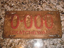 1940 SASKATCHEWAN SAMPLE LICENSE PLATE 0 000