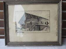 Lithographie Holzschnitt, unter Glas, Lauenen, Alte Mühle, monogramiert S.R.39,