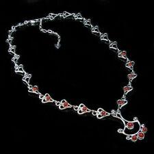 SOLID 925 Sterling Silver Genuine Red Orange Coral Linked Necklace