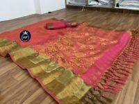 Saree Sari Indian Designer Wear Silk Pakistani Wedding Blouse Cotton Party New