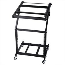 "19"" DJ Rack Mount Studio Mixer Stand Rolling Stage Cart Adjustable Music Show 9U"