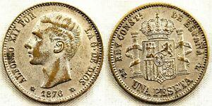 Falsa de epoca. Alfonso XII. 1 pesetas 1876*18-76. EBC/XF. 4,4 g. Rara asi