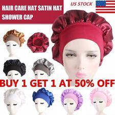 Silk Night Sleep Cap Hair Bonnet Elastic Turban Wrap Hat Head Cover Satin Band