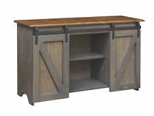 Sage Green Pine Mission Style TV  Stand from the Woodcraft Barn Door Collection