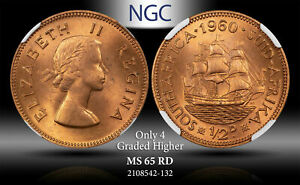 1960 SOUTH AFRICA 1/2 CENT NGC MS 65 RD ONLY 4 GRADED HIGHER