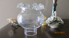 An authentic Art Deco cut glass lamp shade with clear glass frills.