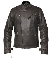 Mens Classic Distressed Vintage Grey Leather Jacket
